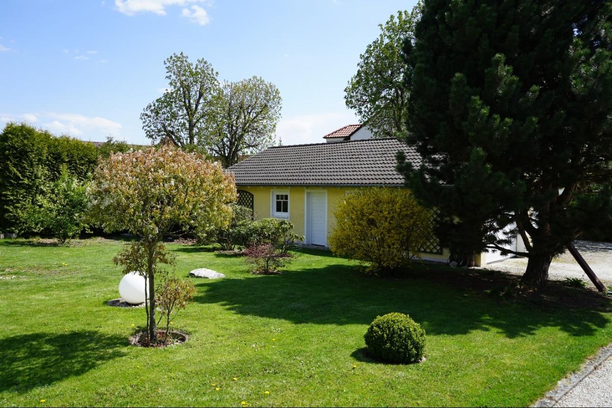Gartenbereich mit Garage